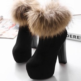 Ericdress Faux Fur Chunky Heel Back Zip Women's Ankle Boots