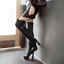 Ericdress Patchwork Chunky Heel Women's Thigh High Boots