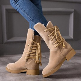 Ericdress Plain Lace-Up Back Block Heel Women's Winter Boots
