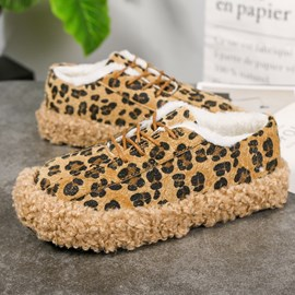 Ericdress Leopard Print Low-Cut Upper Lace-Up Women's Flats