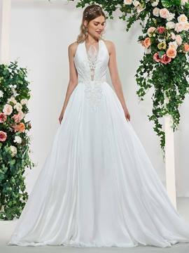 Ericdress Halter Appliques Beading Wedding Dress 2019