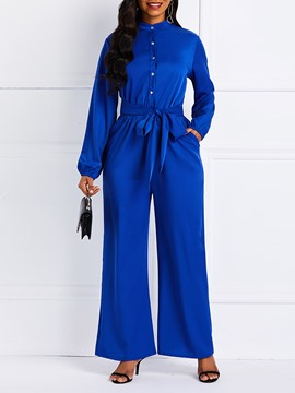 Ericdress Plain Pockets Wide Legs Women's Jumpsuit