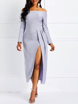 Ericdress Mid-Calf Slash Neck Off-The-Shoulder Dress