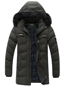 Ericdress Plain Mid-Length Fur Hooded Zipper Mens Down Jacket