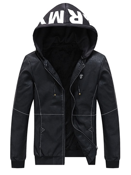 Ericdress Letter Printed Hooded Mens Casual PU Jacket