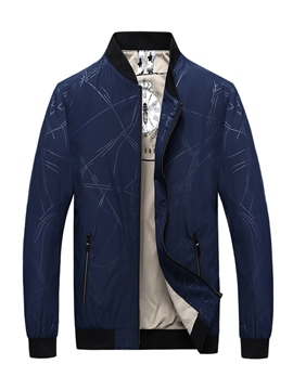 Ericdress Plain Printed Stand Collar Thin Mens Casual Zipper Jacket