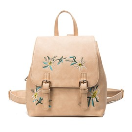 Ericdress Floral PU Belt-Decorated Backpacks