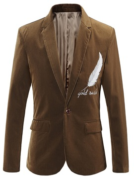 Ericdress Plain Embroidery Notched Lapel Mens Casual Blazer