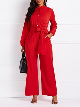 Ericdress Pockets Plain Buttons Wide Legs Loose Jumpsuits
