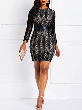 Ericdress Patchwork Plain Above Knee Hollow Lace Dress