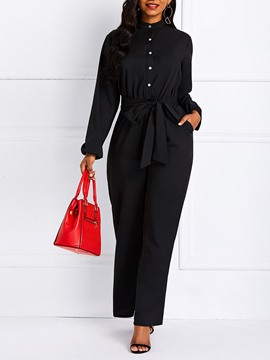 Ericdress Plain Pockets Button Wide Legs Slim Jumpsuits