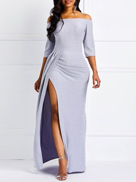 Ericdress Off-The-Shoulder Half Sleeve Split Floor-Length Party Dress