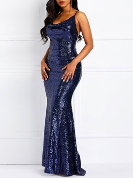 Ericdress Sequins Floor-Length Sleeveless Spaghetti Strap Backless Dress