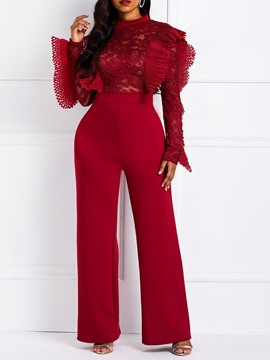 Ericdress Patchwork See-Through Lace Falbala High-Waist Jumpsuits