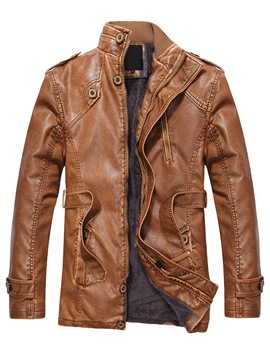 Ericdress Plain Stand Collar Zipper Mens PU Leather Winter Jacket