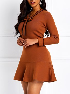 Ericdress Long Sleeve Knee-Length A-Line Bowknot Pullover Dress