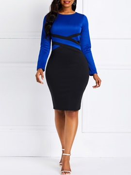 Ericdress Knee-Length Patchwork Long Sleeve Casual Color Block Dress
