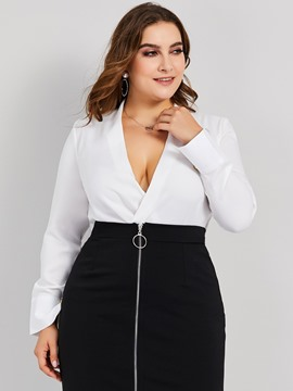 Ericdress Regular V-Neck Asymmetric Plus Size Blouse