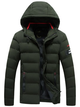 Ericdress Plain Hooded Casual Zipper Mens Quilted Down Coats