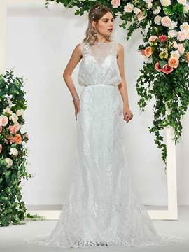 Ericdress Bateau Neck Mermaid Lace Wedding Dress