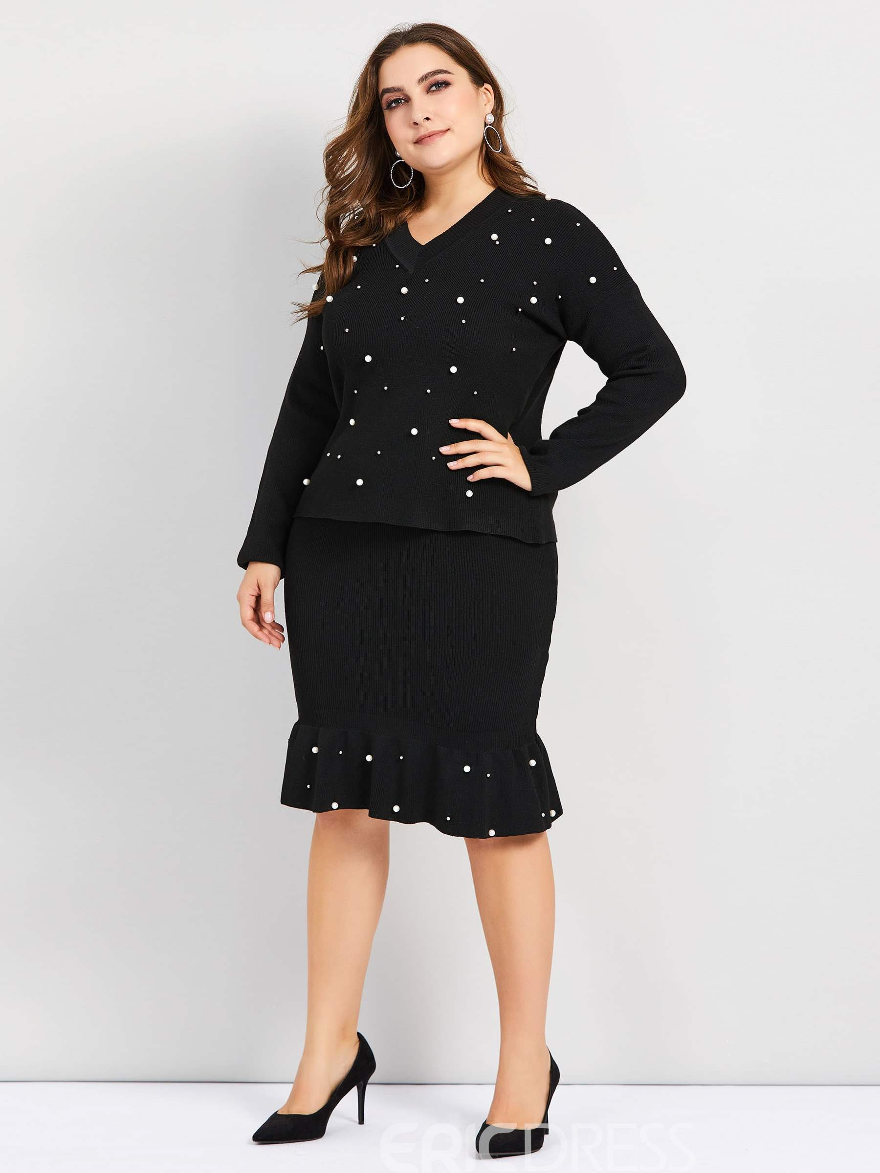 Ericdress Plus Size Bead Plain Casual V-Neck Pullover Two Piece Sets