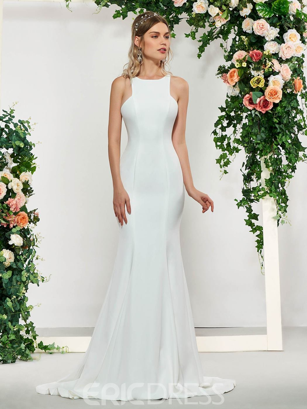 Ericdress Simple Mermaid Wedding Dress with Train