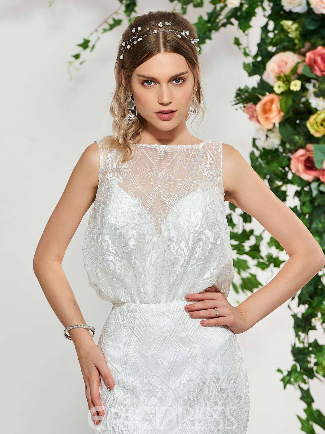 Ericdress Bateau Neck Mermaid Lace Wedding Dress 2019