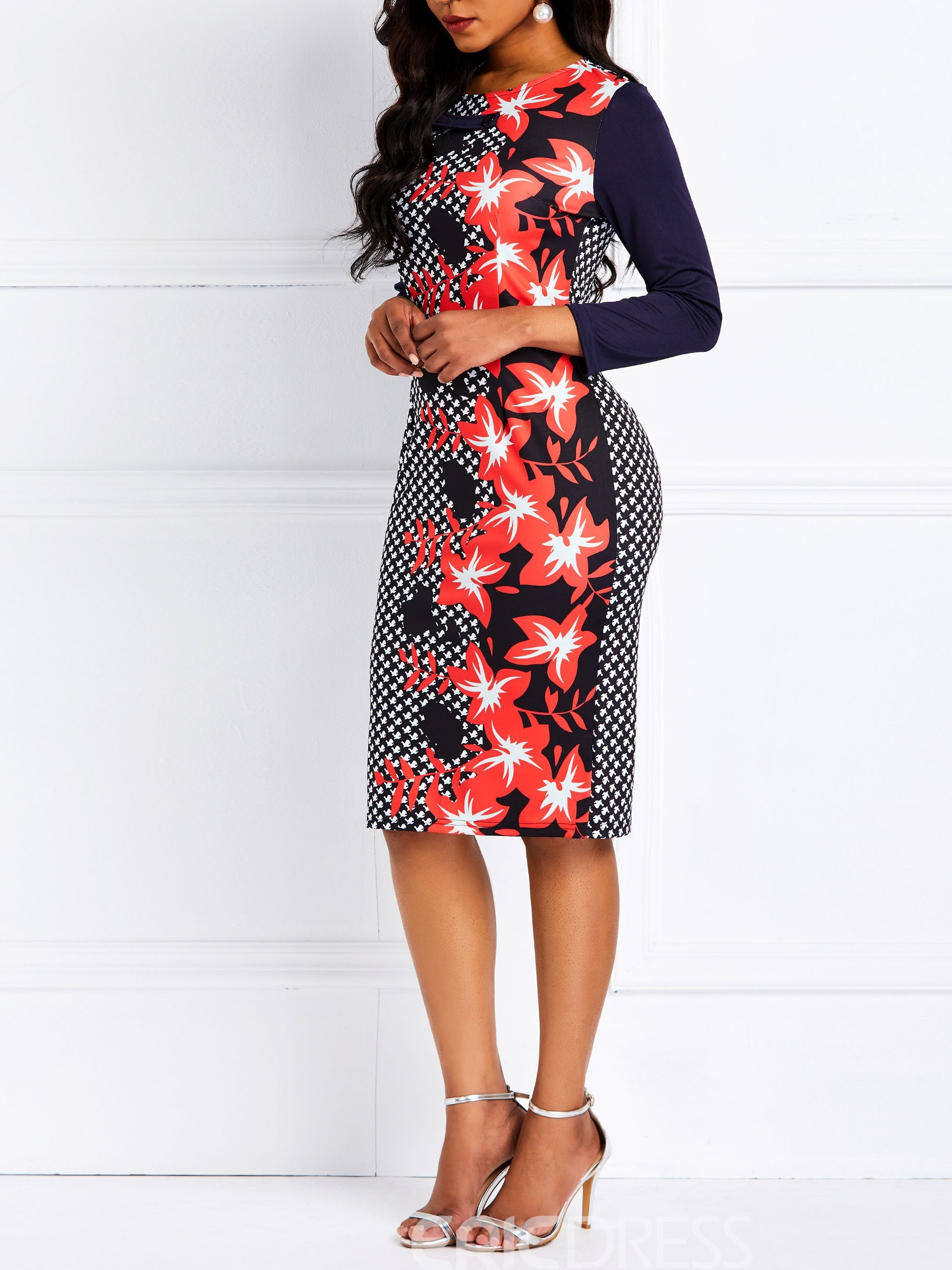 Ericdress Round Neck Knee-Length Floral Houndstooth Print Bodycon Dress