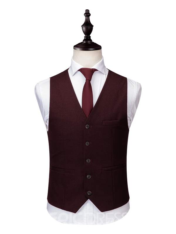 Ericdress Burgunday One Button Mens 3 Pieces Suits
