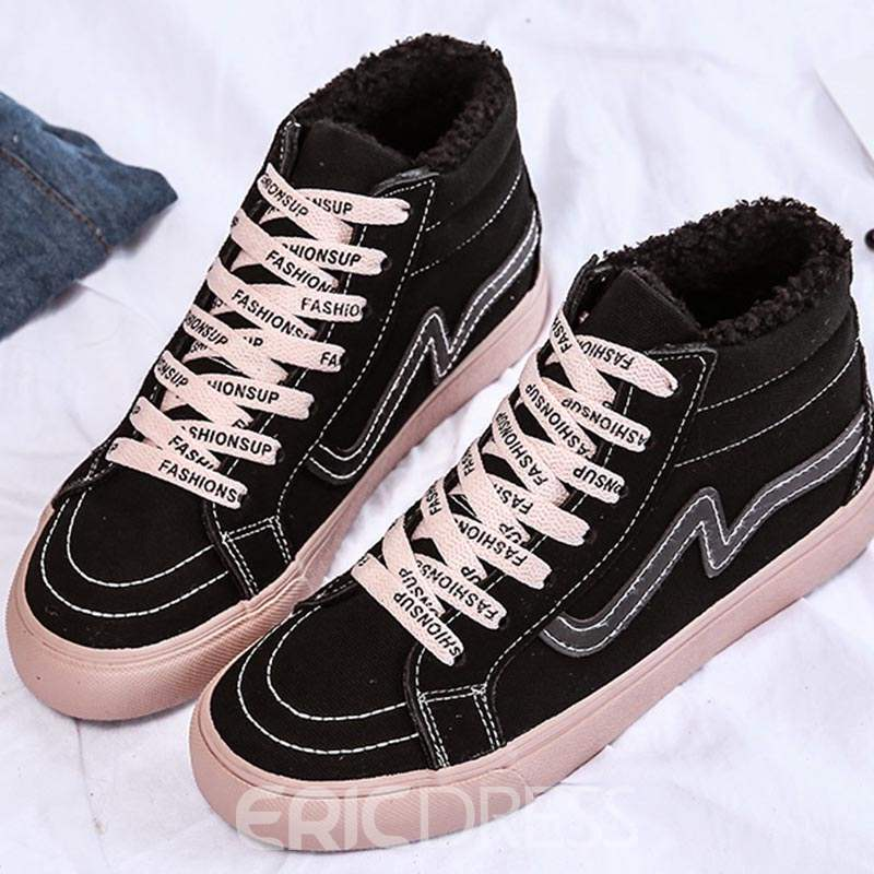 Ericdress Lace-Up Round Toe Women's Winter Sneakers