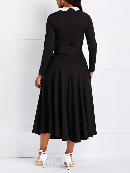 Ericdress Long Sleeve A-Line Lace-Up Casual Dress