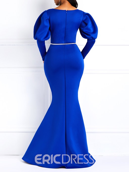 Ericdress Long Gigot Sleeves Mermaid Blue Maxi Dress(Without Waistband)
