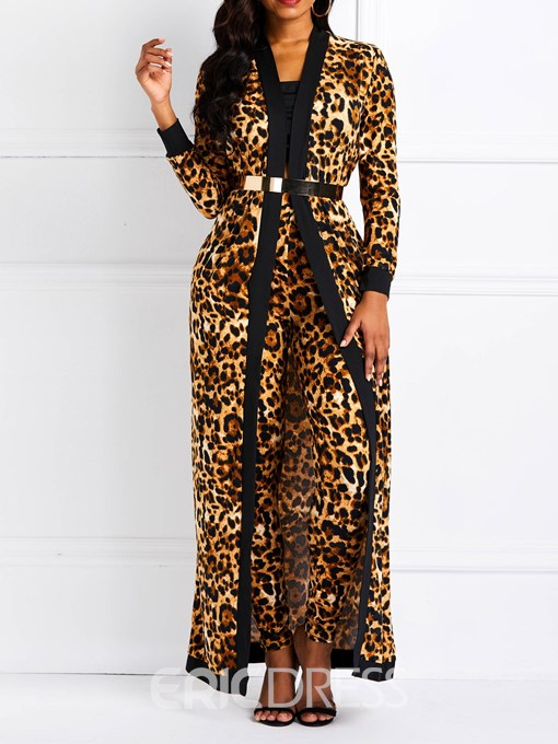 Ericdress Leopard Skinny Stretchy Coat and Pants Women's Two Piece Sets(Without Waistband)