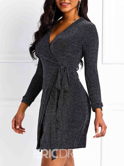 Ericdress Knitted Lace-Up Above Knee Spring Dress