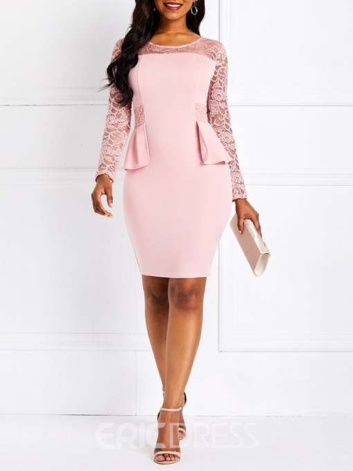 Ericdress Lace Long Sleeve Bodycon Dress