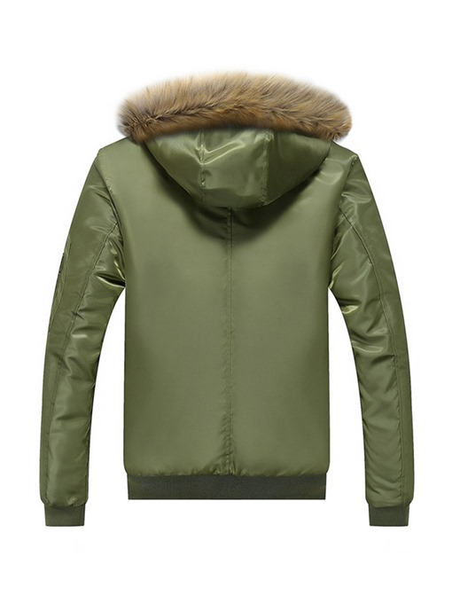 Ericdress Plain Hooded Printed Zipper Casual Mens Down Jacket