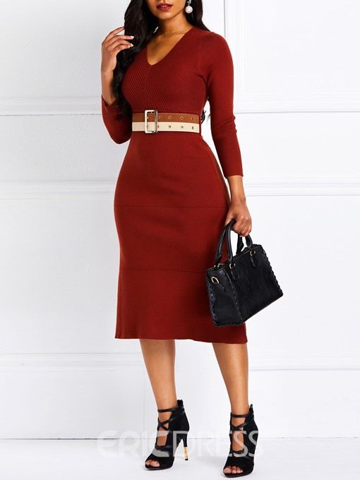 Ericdress Long Sleeves Belt V-Neck Casual Dress