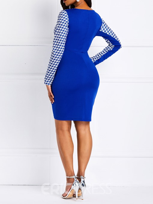 Ericdress Houndstooth Color Block Bodycon Dress