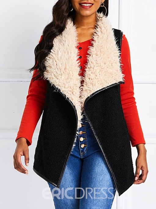 Ericdress Wrapped Patchwork Color Block Mid-Length Winter Vest