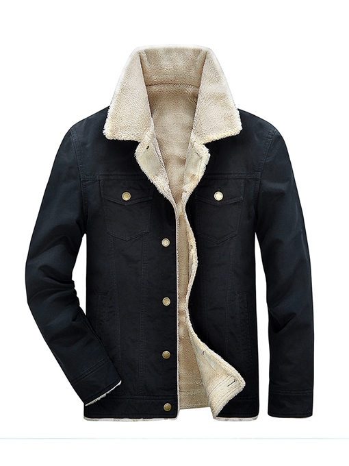 Ericdress Plain Lapel Thick Mens Straight Winter Denim Jacket