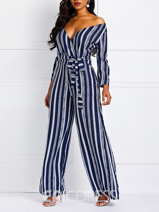 Ericdress Striped Color Block Lace-Up V-neck Women's Jumpsuits