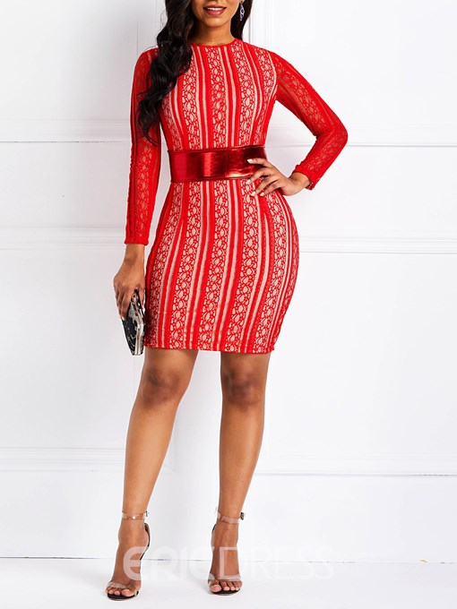 Ericdress Long Sleeves Lace Patchwork Dress