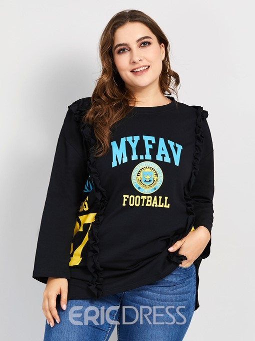 Ericdress Letter Round Neck Plus Size T-Shirt