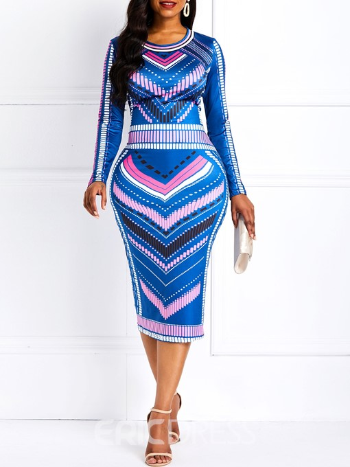 Ericdress Ankara Print Long Sleeves Bodycon Dress