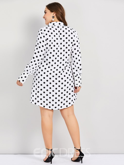 Ericdress Plus Size Knee-Length Print Long Sleeve Fall Polka Dots Dress
