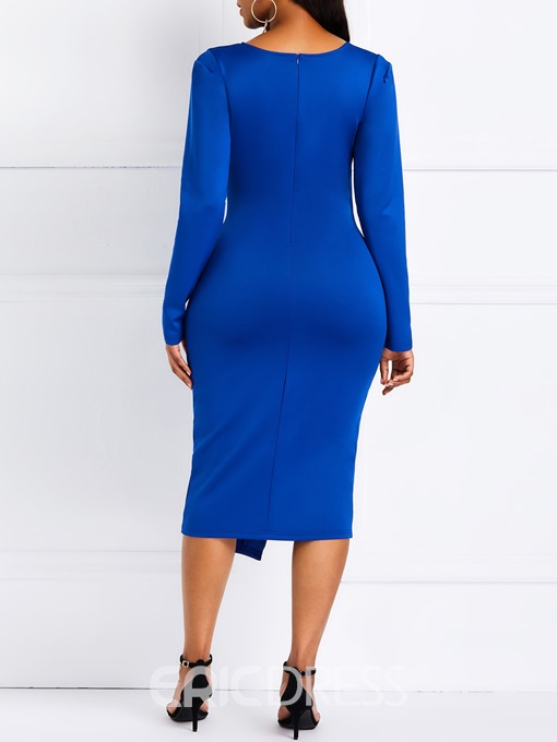 Ericdress Mid-Calf Asymmetric Nine Points Sleeve Pullover OL Dress