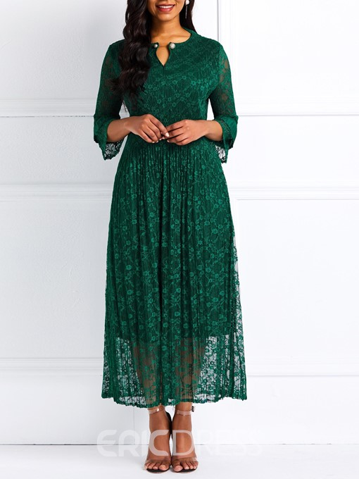 Ericdress Lace A-Line Nine Points Sleeves Elegant Dress