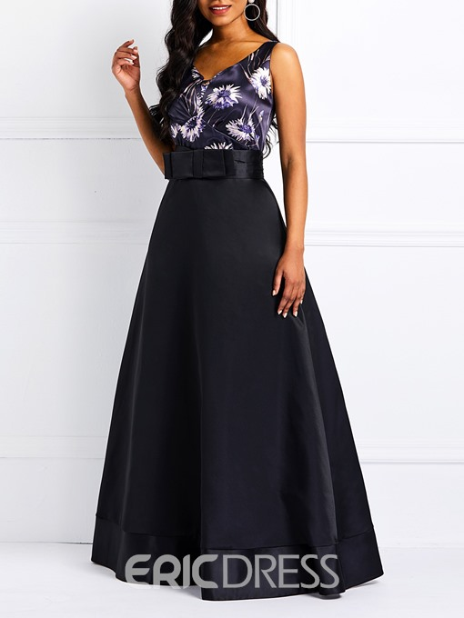 Ericdress Sleeveless Bowknot Elegant Maxi Dress