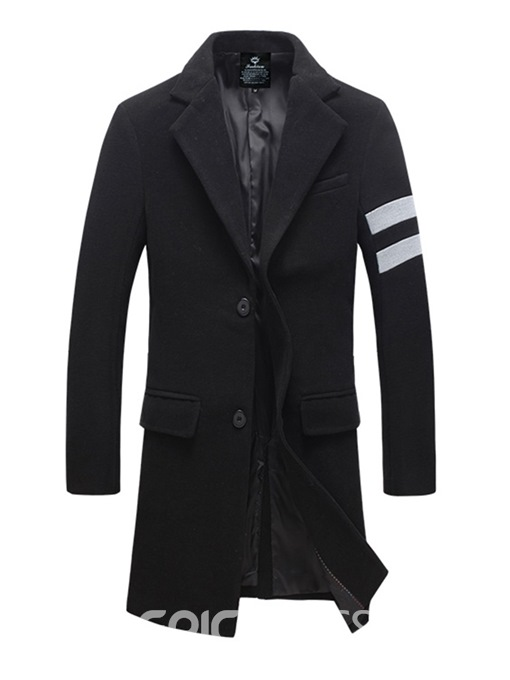 Ericdress Striped Notched Lapel Mid-Length Mens Wool Coat