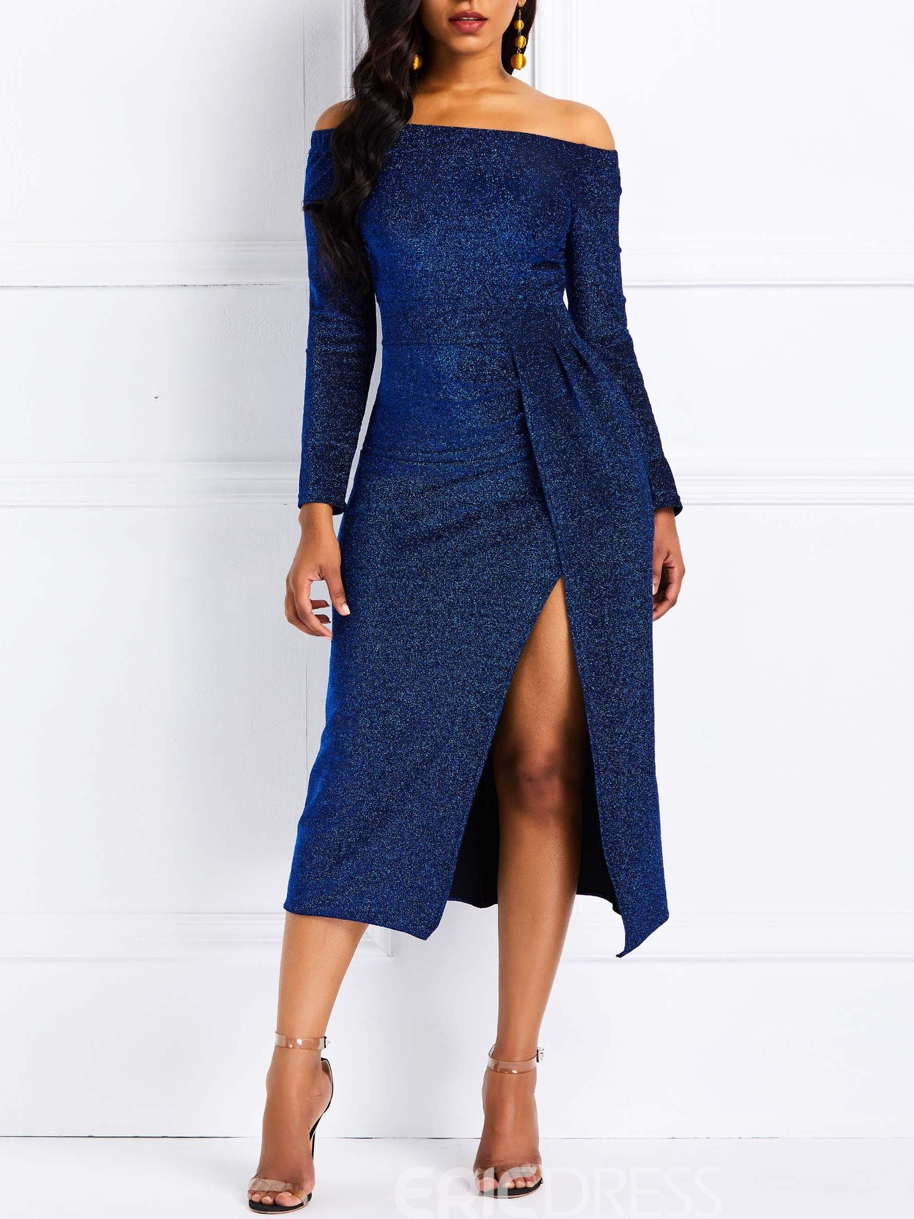 Ericdress Slash Neck Long Sleeve Mid-Calf Split Dress